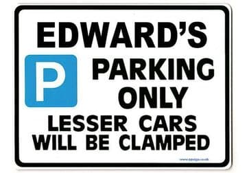 EDWARD'S Personalised Gift |Unique Present for Him | Parking Sign - Size Large - Metal faced