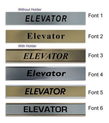Elevator  Door Nameplate | slide in or fixed room sign