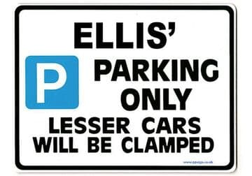 ELLIS' Personalised Gift |Unique Present for Him | Parking Sign - Size Large - Metal faced