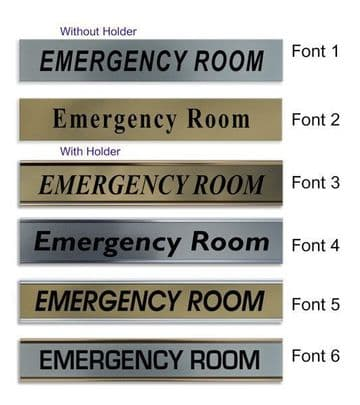 Emergency Room  Door Nameplate | slide in or fixed room sign