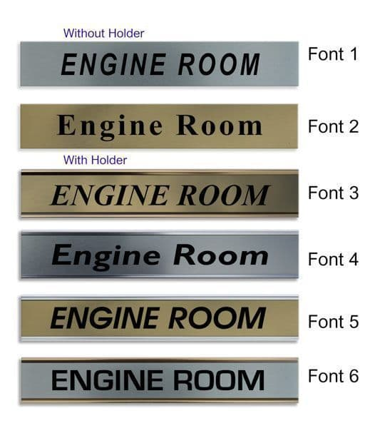 Engine Room  Door Nameplate | slide in or fixed room sign