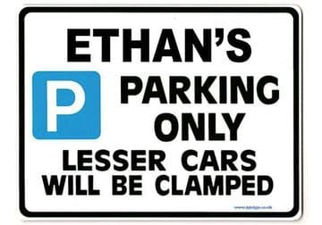 ETHAN'S Personalised Gift |Unique Present for Him | Parking Sign - Size Large - Metal faced