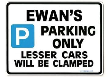 EWAN'S Personalised Gift |Unique Present for Him | Parking Sign - Size Large - Metal faced