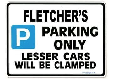 FLETCHER'S Personalised Gift |Unique Present for Him | Parking Sign - Size Large - Metal faced