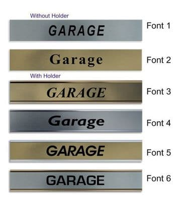 Garage  Door Nameplate | slide in or fixed room sign