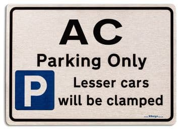 Gift for AC car owner | New Parking only Sign | Metal face Brushed Aluminium