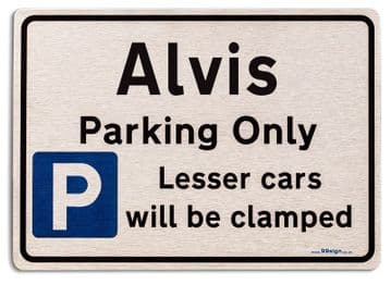 Gift for Alvis car owner | New Parking only Sign | Metal face Brushed Aluminium