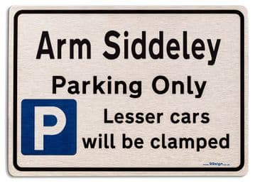 Gift for Arm Siddeley car owner | New Parking only Sign | Metal face Brushed Aluminium
