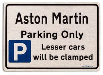 Gift for Aston Martin car owner | New Parking only Sign | Metal face Brushed Aluminium