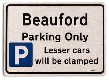 Gift for Beauford car owner | New Parking only Sign | Metal face Brushed Aluminium