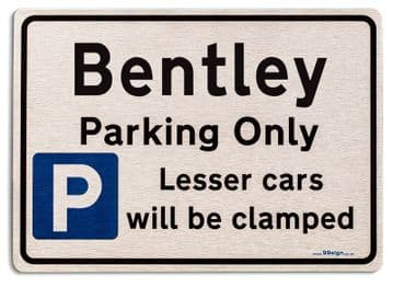 Gift for Bentley car owner | New Parking only Sign | Metal face Brushed Aluminium