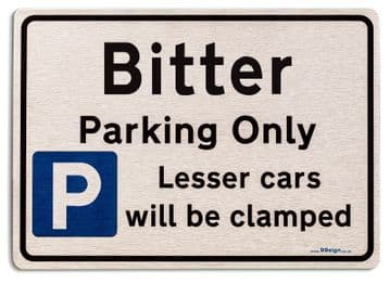 Gift for Bitter car owner | New Parking only Sign | Metal face Brushed Aluminium