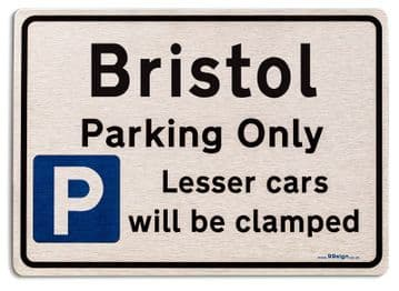 Gift for Bristol car owner | New Parking only Sign | Metal face Brushed Aluminium