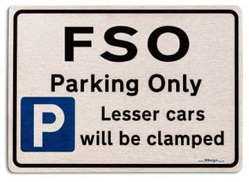 Gift for FSO car owner | New Parking only Sign | Metal face Brushed Aluminium