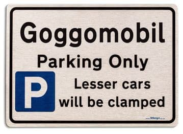 Gift for Goggomobil car owner | New Parking only Sign | Metal face Brushed Aluminium