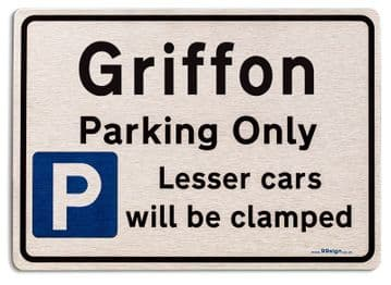 Gift for Griffon car owner | New Parking only Sign | Metal face Brushed Aluminium