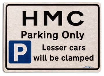Gift for HMC car owner | New Parking only Sign | Metal face Brushed Aluminium