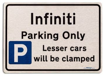 Gift for Infiniti car owner | New Parking only Sign | Metal face Brushed Aluminium