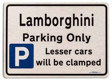 Gift for Lamborghini car owner | New Parking only Sign | Metal face Brushed Aluminium