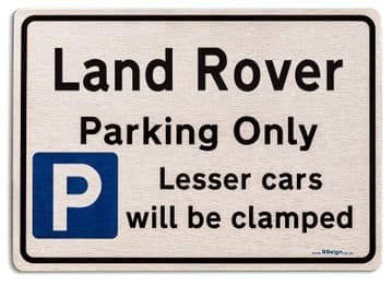 Gift for Land Rover car owner | New Parking only Sign | Metal face Brushed Aluminium