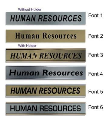 Human Resources  Door Nameplate | slide in or fixed room sign