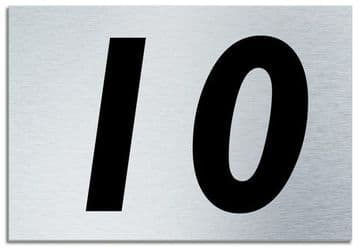 Number 10 Contemporary House  Plaque | Brusher Aluminium modern door sign