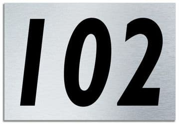 Number 102 Contemporary House  Plaque | Brusher Aluminium modern door sign