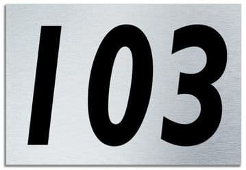Number 103 Contemporary House  Plaque | Brusher Aluminium modern door sign