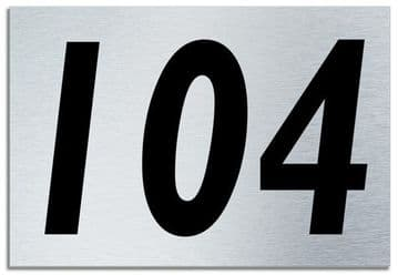 Number 104 Contemporary House  Plaque | Brusher Aluminium modern door sign
