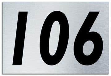 Number 106 Contemporary House  Plaque | Brusher Aluminium modern door sign