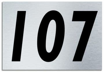 Number 107 Contemporary House  Plaque | Brusher Aluminium modern door sign