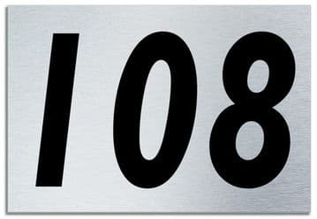 Number 108 Contemporary House  Plaque | Brusher Aluminium modern door sign
