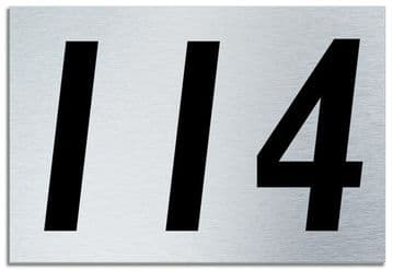 Number 114 Contemporary House  Plaque | Brusher Aluminium modern door sign