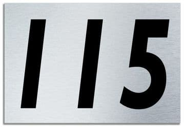 Number 115 Contemporary House  Plaque | Brusher Aluminium modern door sign