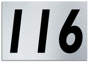 Number 116 Contemporary House  Plaque | Brusher Aluminium modern door sign