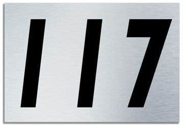 Number 117 Contemporary House  Plaque | Brusher Aluminium modern door sign