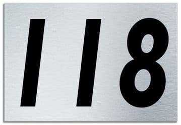 Number 118 Contemporary House  Plaque | Brusher Aluminium modern door sign
