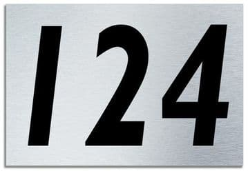 Number 124 Contemporary House  Plaque | Brusher Aluminium modern door sign