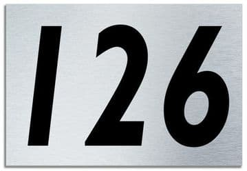 Number 126 Contemporary House  Plaque | Brusher Aluminium modern door sign