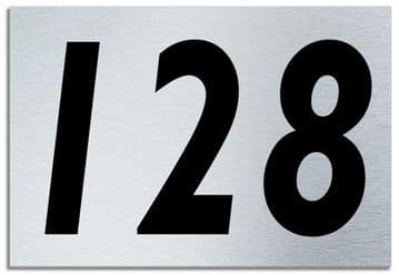 Number 128 Contemporary House  Plaque | Brusher Aluminium modern door sign
