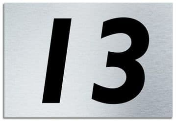 Number 13 Contemporary House  Plaque | Brusher Aluminium modern door sign