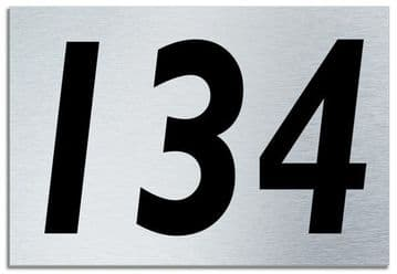 Number 134 Contemporary House  Plaque | Brusher Aluminium modern door sign
