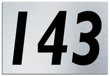 Number 143 Contemporary House  Plaque | Brusher Aluminium modern door sign