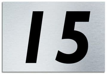 Number 15 Contemporary House  Plaque | Brusher Aluminium modern door sign