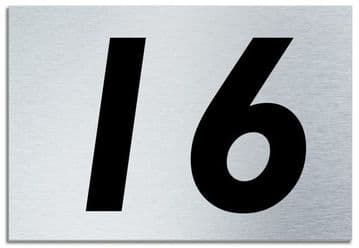 Number 16 Contemporary House  Plaque | Brusher Aluminium modern door sign