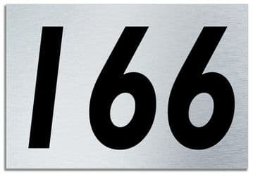 Number 166 Contemporary House  Plaque | Brusher Aluminium modern door sign