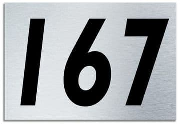 Number 167 Contemporary House  Plaque | Brusher Aluminium modern door sign
