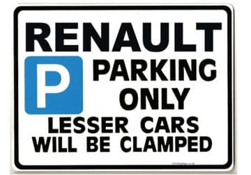RENAULT Car Parking Sign - Gift for 5  Clio ESPACE MEGANE models - Size Large 205 x 270mm