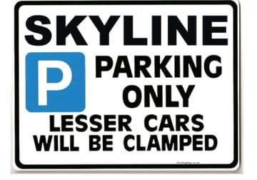SKYLINE Large Sign for nissan r32 r33 r34 gtr gts  Size Large 205 x 270mm