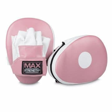 Curved Pink Focus Pads Made of Synthetic Leather in Pink & White Colour